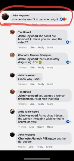 John Heywood 'shame she wasn't in car'